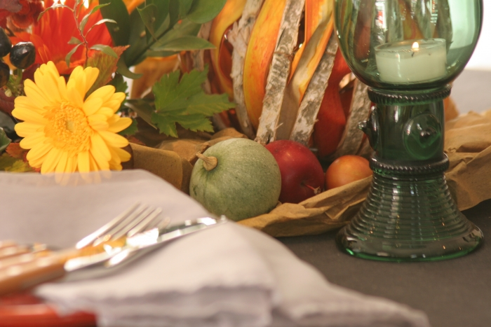 秋の収穫のテーブル